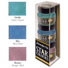 3 flacons Star Color 40ml. Bleu-Rouge-Vert